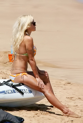 Pamela Anderson enjoying herself at the beach